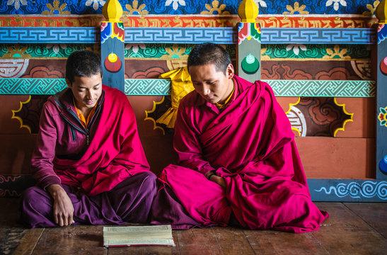Asian monks reading on temple floor