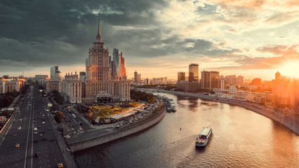 Sunset in the Moscow, Moscow at dusk, Moscow in the evening