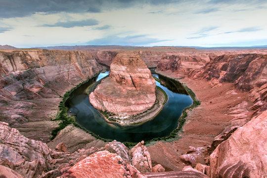 Curving river in desert