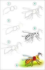 Educational page for kids shows how to learn step by step to draw a cute insect hornet. Back to school. Developing children skills for drawing and coloring. Vector cartoon image.