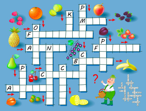 Crossword puzzle game with fruits. Educational page for children for study French language and words. Printable worksheet for kids textbook. Back to school. Vector cartoon image.