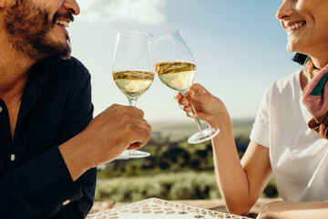 Close up of a couple drinking wine