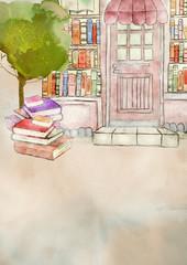 Bookstore. Watercolor background