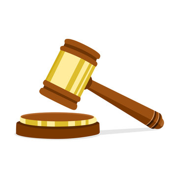 Vector illustration in flat design Wooden judge hammer of the chairman for adjudication of sentences and bills. Legal law and auction symbol.
