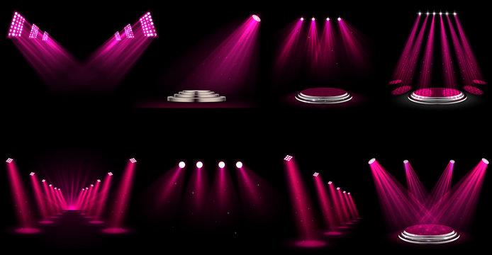 Set of light effect spotlight