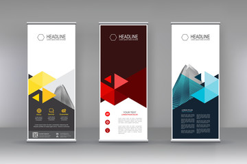 Vertical banner stand template design. can use for brochure flyer, covers ,infographics ,vector abstract geometric background, modern x-banner and flag-banner advertising design element