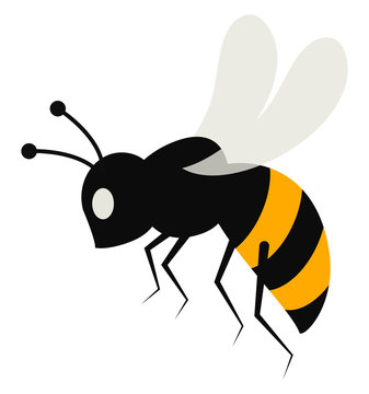 Cartoon bee set on isolated white background viewed from the side vector or color illustration