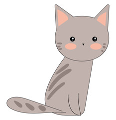 Portrait of a cute grey cat sitting against white background viewed from the side vector or color illustration