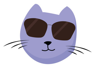 Painting of the face of a happy cat with sunglasses vector or color illustration
