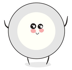 Emoji of a cute plate vector or color illustration