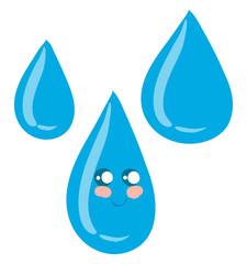 Emoji of a cute water drop vector or color illustration