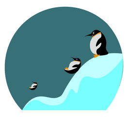 Cartoon picture of three penguins sliding and playing in the ice vector or color illustration