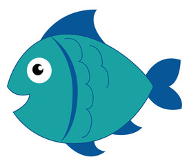 Clipart of a blue-colored smiling fish vector or color illustration