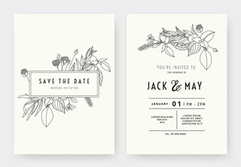 Minimalist wedding invitation card template design, floral black line art ink drawing with rectangle frame on light grey