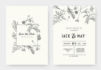 Minimalist wedding invitation card template design, floral black line art ink drawing with square frame on light grey