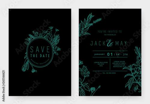 Minimalist wedding invitation card template design, floral