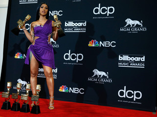 """2019 Billboard Music Awards– Photo Room – Las Vegas, Nevada, U.S., May 1, 2019 – Cardi B poses backstage with her 6 awards to include Top Rap Song for """"I Like it"""" and Top Hot 100 Song for """"Girls Like You\"""