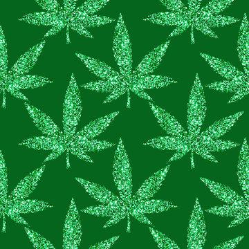 Golden Glitter sparkling  cannabis leaves  seamless carnival pattern