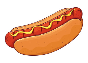 Hot Dog With Mustard Hand Drawing