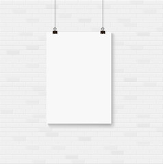 Wall Mural - White blank poster mockup on the seamless brick wall