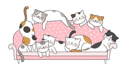 Draw cat sleep on pink sofa.