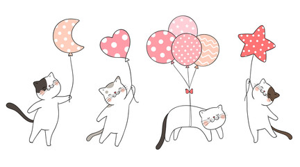 Draw set cute cat holding balloon sweet color.