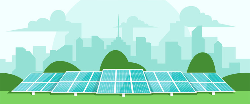 Solar energy. Solar batteries in the middle of a green field. City silhouette on the back. Clear modern design. Simple design template. Beautiful background. Flat style vector illustration.