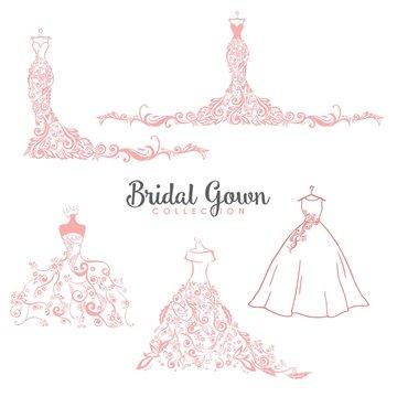 Dress Boutique Bridal Collection Logo Set, Icon Template Illustration Vector Design
