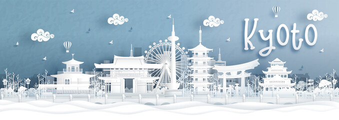 Fototapete - Panorama view of Kyoto city skyline with world famous landmarks of Japan in paper cut style vector illustration.