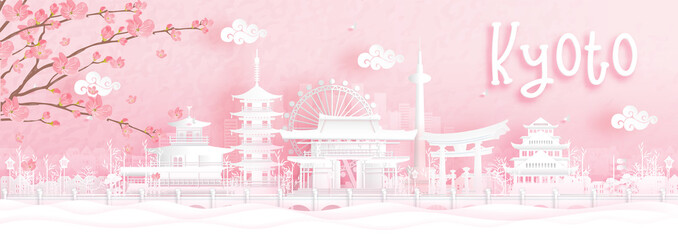 Fototapete - Autumn season with falling Sakura flower and Kyoto, Japan world famous landmarks in paper cut style vector illustration