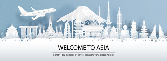 Fototapete - Travel advertising with travel to Asia concept with Asia's famous landmark in panorama view of city skyline. Paper cut style vector illustration.