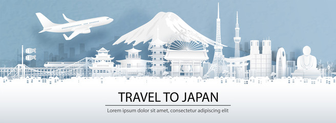 Fototapete - Travel advertising with travel to Japan concept with panorama view city skyline and world famous landmarks of Japan in paper cut style vector illustration.