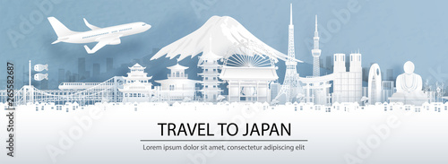 Fototapete Travel advertising with travel to Japan concept with panorama view city skyline and world famous landmarks of Japan in paper cut style vector illustration.
