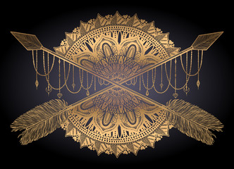 Arrow crossing amulet in ethical and mandala in style tattoo.Gold color graphic in black background.