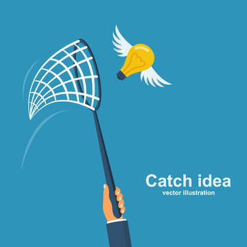 Businessman holding a netting for catch idea.