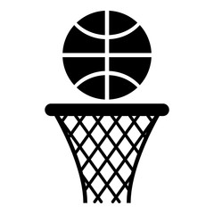 Basketball basket and ball Hoop net and ball icon black color vector illustration flat style image