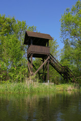 Wooden lookout tower, Spree Forest (Spreewald) Germany