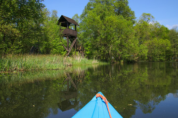 Paddle in Spree Forest (Spreewald), wooden lookout tower, Germany