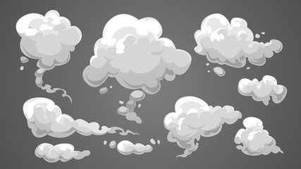 Set of stylized white clouds. Vector illustration collection of smoke. Fototapete