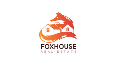 House fox logo concept. Beautiful real estate branding template. Simple modern design. Red, orange color. Isolated on a white background. Flat style vector illustration.