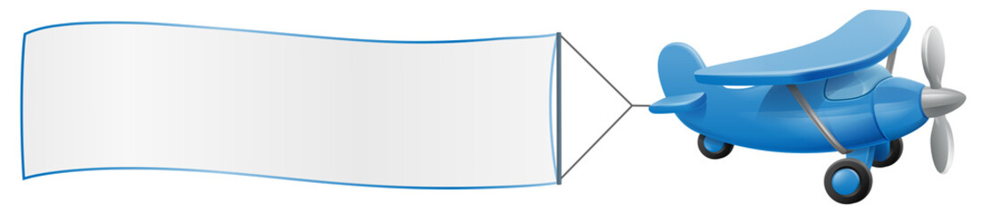Banner airplane cartoon. An illustration of a cute blue small or toy aeroplane pulling a sign