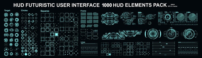 HUD elements mega set pack. Dashboard display virtual reality technology screen. Futuristic user interface. Fototapete