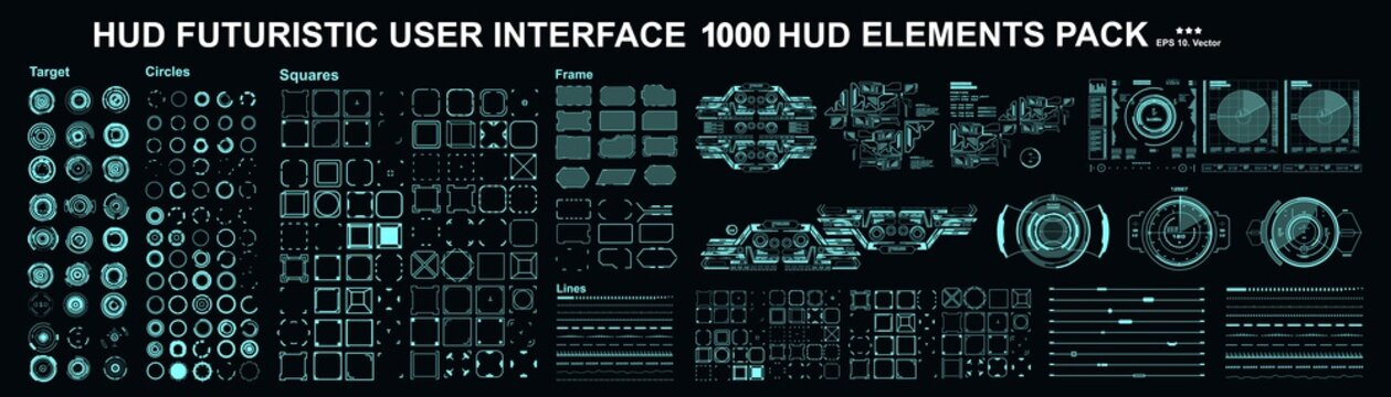 HUD elements mega set pack. Dashboard display virtual reality technology screen. Futuristic user interface.