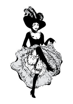 Cancan dancer girl. Vector illustration in vintage style. Dancing woman in laced skirt and hat with feathers isolated on white.