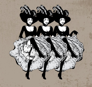 Cancan dancing girls. Vector illustration in vintage style. Dancing women in laced skirt and hat with feathers on grunge background.