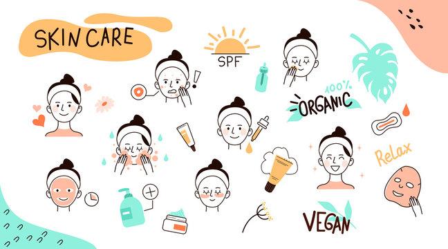 skin care doodles
