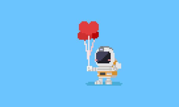 Pixel astronaut holding heart balloons.Valentine's day.8bit.