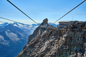 Overhead Cable Car / Ropeway at Glacier of Tux in the Alps of Austria - Europe