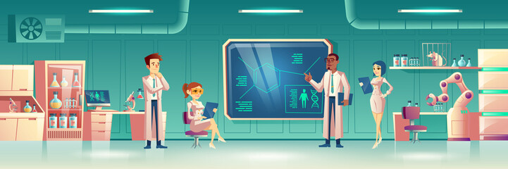 Scientific laboratory interior with group of people wearing white coats conducting experiment surrounded with science lab equipment. Male and female researchers working. Cartoon vector illustration.