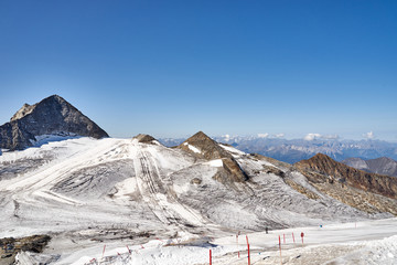 """Ski area of """"Hintertux"""" in Austria at 3250 m altitude at summertime / one of only two ski resorts in the world offering skiing 365 days a year"""